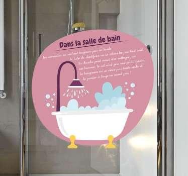 Sticker texte salle de bain
