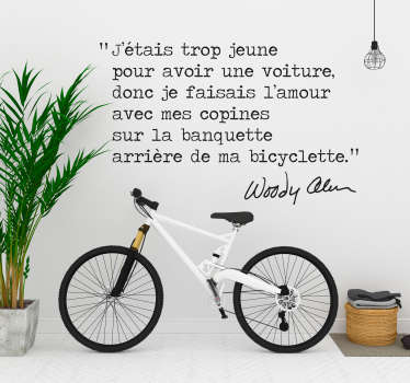 Sticker citation Woody Allen byciclette