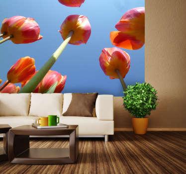 Sticker decorativo tulipani e cielo