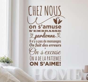 Sticker mural texte qui cite tous les bons comportements à avoir pour vivre en parfaite harmonie chez soi !