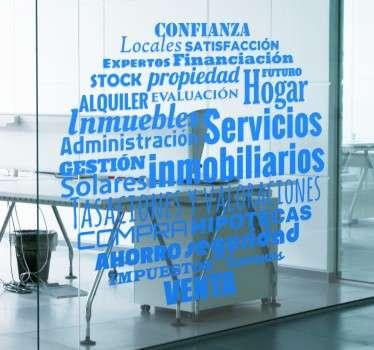 Vinilos para negocios y agencias de servicios inmobiliarios con un diseño original que comprende una serie de conceptos relacionados.