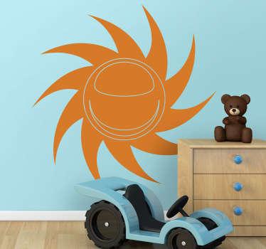Et kreativt klistermærke af en spiralsol for at bringe noget varme hjem. Lyse vægoverføringsbillede for at dekorere og omdanne dit værelse.