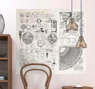 Naklejka na ścianę szkice astronomiczne