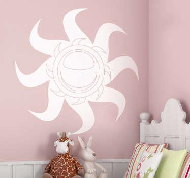Adesivo murale che raffigura un sole con una doppia corona di raggi che ruotano a spirale. Un'idea originale per decorare il soggiorno o la camera da letto.
