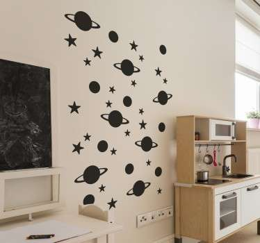 Space wall stickers - Do your kids love outer space? Redecorate your children´s bedroom with this fun wall sticker.