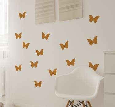 Vlinder stickers in slaapkamer - TenStickers