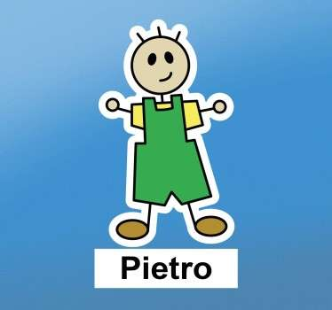 This customisable wall sticker consists of a little stick man, with a yellow t-shirt and green overalls.