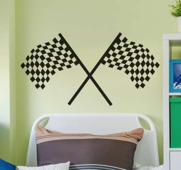 Formula One checkered flags wall sticker for decorating the wall of any fan of motor sport racing. These iconic black and white flags are perfect for applying above your bed or in any empty space on the wall to create an awesome new look to the room and show off your love for car racing.