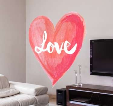 """水彩的爱的心的浪漫贴纸,用美丽的书法刻字写的""""爱""""一词。"""