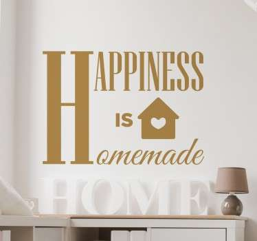 From our collection of text wall quote stickers, a heart warming design with the words ´Happiness is homemade' in a decorative font.