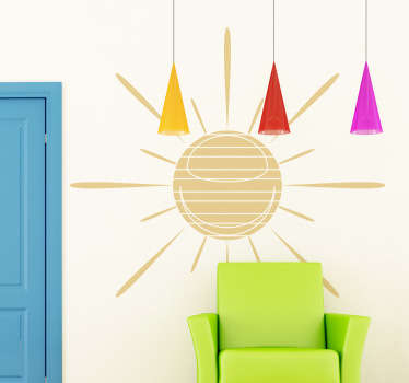 A illustrative sticker of a sun with lines to make your home bright! Superb decal to decorate to bring sunshine to your home!