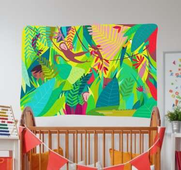 Colourful children's sticker of a fun jungle scene with swinging monkeys and beautifully bright trees.
