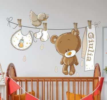 Autocolante infantil personalizado urso castanho