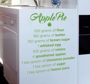 Apple Pie Recipe Sticker