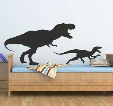 Dinosaur wall stickers showing the silhouettes of a T. Rex and velociraptor on the hunt. This Tyrannosaurus Rex sticker can be applied to any flat surface and is perfect for personalising a teen's room or child's room to show off their love for the great creatures.