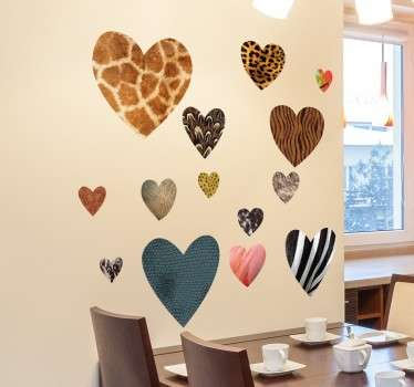 Collection of heart wall stickers with different animal skins. A very unique wall sticker that shows your love for animals.