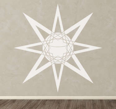 A design of an illuminating sun with lines to make your home original! Cool decal from our collection of star wall stickers.