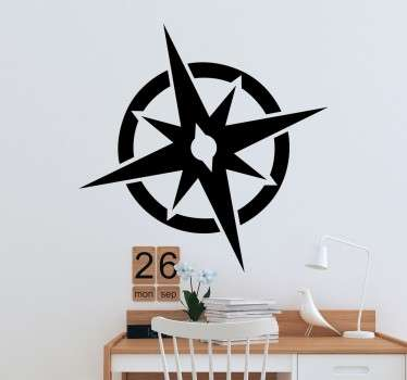 A simple and elegant wall sticker with a design of a compass rose to decorate any room in your home.