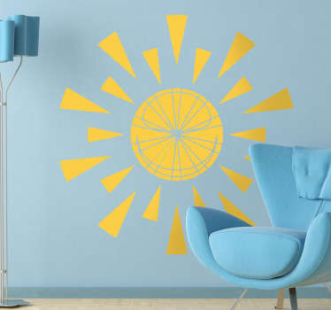 A bright sticker of a  triangular sun to make your room warm! Amazing decal to bring some sunshine into your room.