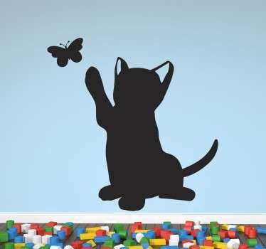 A sweet wall sticker with the silhouette of a playful ca trying to catch a butterfly. Ideal for animal or cat lovers to decorate their homes.