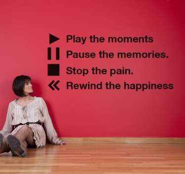 A fun and creative text wall sticker that reminds you to enjoy life and treasure the happy moments and memories.