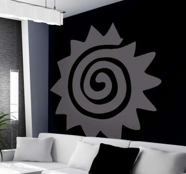 A creative sticker of a spiral sun! Decorate your living room with this decal and hypnotise your guests! Simple but effective design to bring the room together and really personalise your home decor. Add some colour to the walls of leave them muted, this sticker is available in 50 different colours!