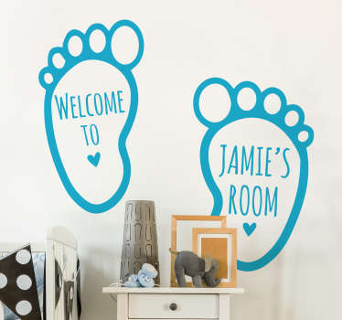 From our collection of personalised wall stickers for kids, a cute set of footprints to decorate your child's bedroom or nursery.