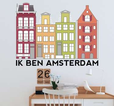 Location theme wall sticker design of Amsterdam skyline in colorful appearance to decorate any wall space with fascination.