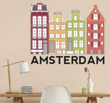 A wall decal with an illustration of the iconic and colourful buildings of the dutch capital city of Amsterdam.