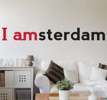 From our collection of wall stickers inspired by cities from around the world, 'I amsterdam' text decal for lovers of this Dutch capital.