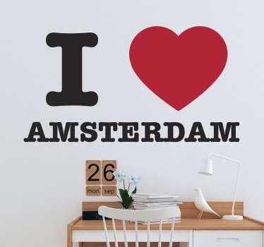 Muursticker I love Amsterdam