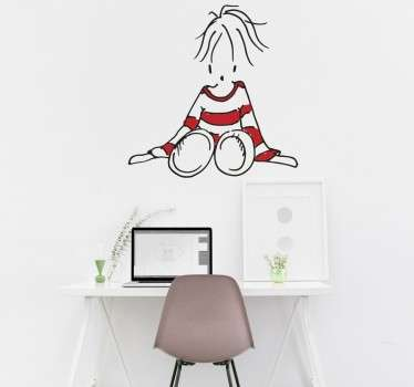 Girl in Striped Jumper Wall Sticker