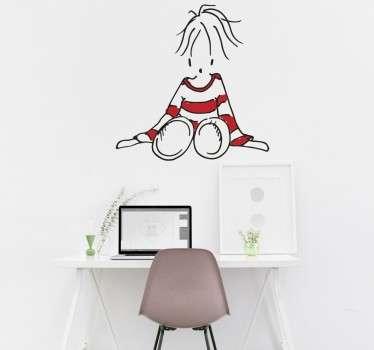 Naklejka dla dzieci 'Siedząca laleczka'