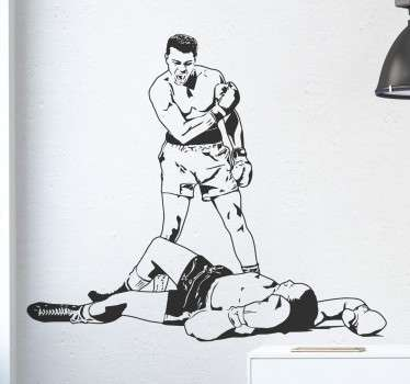A great sports wall sticker of the legendary Muhammad Ali knocking out one of his opponents on the floor.