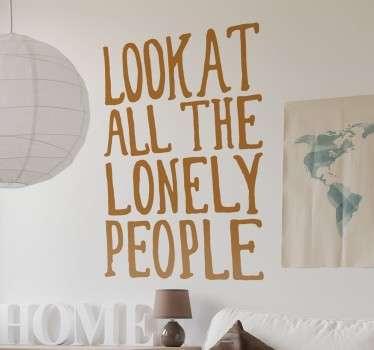 Eleanor Rigby Lyrics Wall Sticker