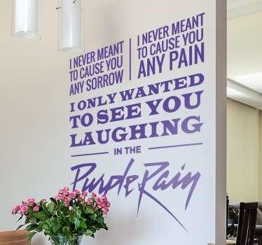 Purple Rain Prince Lyrics Wall Sticker