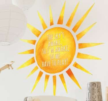 An ideal wall sticker for kids who love the hit Disney movie Frozen. Beautiful design of a bright sun with shining rays