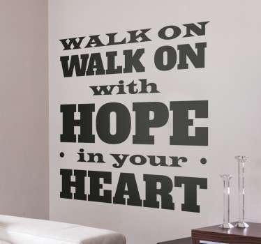 Wall sticker with some of the lyrics of the famous official anthem of Liverpool Football Club.