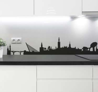 From our collection of skyline wall stickers, the silhouette profile of the Spanish city of Seville.