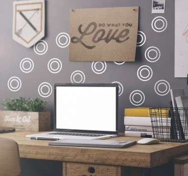 A stylish sticker set of 20 circles for you to decorate any space in your home or office.