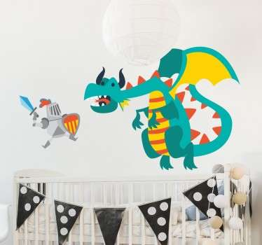 A kids wall sticker of a cartoon dragon who is fighting with a brave armoured knight. Ideal for decorating boys bedrooms.