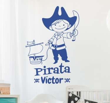 Adesivo bambini  pirata con nome personalizzabile