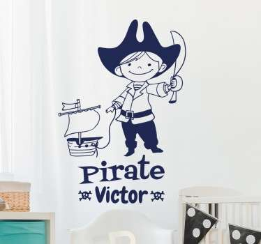 A personalised kids wall sticker with a fun pirate design! Add any name you like to this decal to make it more unique to you.