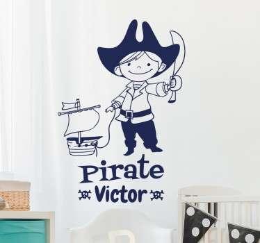Gepersonaliseerde Muursticker Piraat
