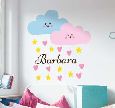 Perosonalised Wall Stickers for Kids - A sweet wall decal of two smiling clouds that are raining hearts and stars. Customise with your child´s name.