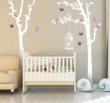 A beautiful tree wall sticker of two tall trees surrounded by birds and butterflies, complete with a hanging bird cage. The elegant and delicate design is perfect for creating a calming and peaceful atmosphere in anywhere from your living room to the nursery.