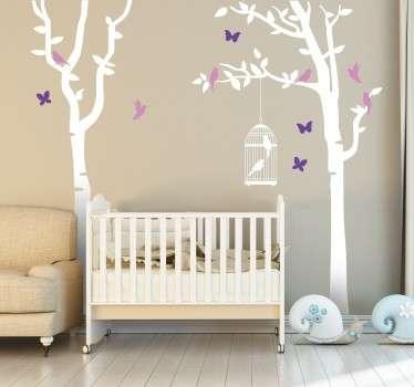 Autocolante árvore árvores e borboletas