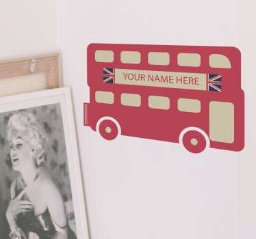 A great sticker of an iconic London double-decker bus, with space to add your name to make it more personal to you! If you want to decorate your home with a classic British theme, then this cute design is perfect for you.