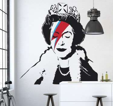 A wallsticker with a cool urban art design of Queen Elizabeth with a Ziggy Stardust lightening strike across her face; created by artist Banksy.