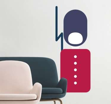 A creative and alternative wall sticker with a design of one of the Queen's Royal guards, who watches over Buckingham palace in London.